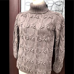 Merino Wool Taupe Brown CableKnit Sweater Small